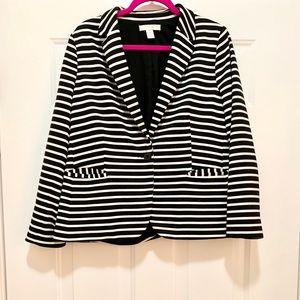 Chico's | Classic Black and White Striped Blazer